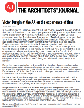 Victor Burgin at the AA on the experience of time