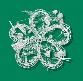 Cut Rice Paper Sculptures of Twisting Rollercoasters by Bovey Lee