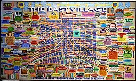 """Jerry Saltz's Annotations on Loren Munk's """"The East Village"""" Map Painting on nymag Vulture"""