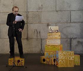 "Samuel Jablon's ""Poet Sculpture"" is being performed at the Queens Museum: ETERNiDAY"
