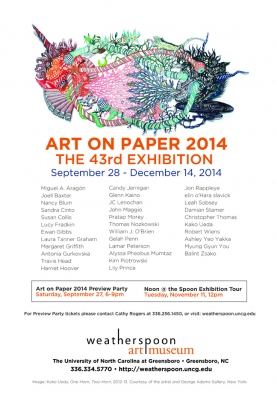 Damian Stamer showing at the 43rd Art on Paper Biennial at Weatherspoon Art Museum