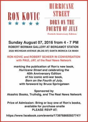 Ron Kovic   Sunday August 7 from 4-7pm