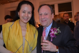 James Berry Hill, seen here together with Elizabeth Wang, Chairman of the Chinese Cultural Foundation, celebrates the Chinese New Year at the House of Tai Ping in New York on March 4th, 2015.   Celebrating the Year of the Sheep, Mr. Hill, together with his colleagues Ms. Wang and Mr. James Kaplan, Chairman of Tai Ping Carpets, wishes one and all Peace, Harmony, and Tranquility.