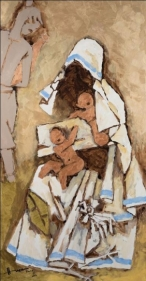 M.F. Husain MOTHER TERESA (GOLD) 2004 Acrylic on canvas 67.5 x 36 in.