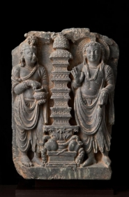 Cult of the Stupa Ancient Region of Gandhara Grey schist 2nd/3rd Century 12.5 in.