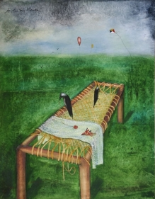 Anjolie Ela Menon VACENT BED ND Oil on canvas 44 x 34 in.