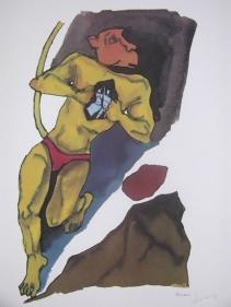 M F Husain HANUMAN- HANUMAN WITH COUPLE Serigraph edition of 350 individual serigraph $2,000; set of 3 $5,000 24 x 18 in.