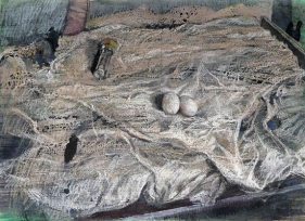 Indrapramit Roy THE DELICATE BED Mixed media on paper 22 x 30 in.