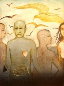 Anjolie Ela Menon VISARJAN 2004 Oil on Masonite 48 x 36 in.  SOLD
