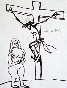 F.N. Souza UNTITLED (WOMAN AND CHRIST ON CROSS) 1983 Ink on paper 11 x 8.5 in.