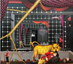 Jagannath Panda (b.1970)  The Stage, 2017  Acrylic, Fabric, glue.  90h x 72w in