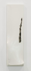 Saad Qureshi Qureshi and I 2009 Pencil, newspaper, gloss paint on canvas 45.6 x 12 in.