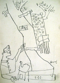 M.F. Husain UNITLED (MAN AND TREE) 1954 Ink on paper 7 x 5 in.