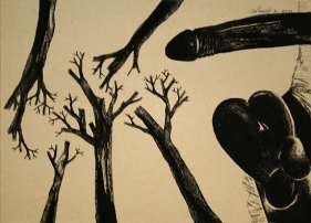 Laxma Goud Untitled (Penis and Tree Roots) 1975 Ink on board 9.5 x 13.5 in.