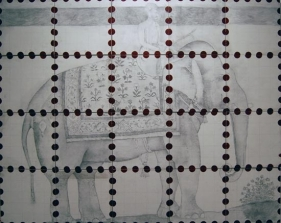 Hasnat Mehmood ELEPHANT ROAD DHAKA 2007 Pencil and paint on canvas 48 x 60 in. each smaller canvas is 12 x 12 in.  SOLD