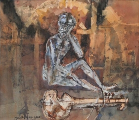 Shyamal Dutta-Ray MAN WITH SITAR 2001 Mixed media on paper 18 x 21.5 in.  SOLD