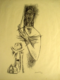 M. F. Husain Madonna with Flowers 1959 Ink on paper 12.5 x 9.5 in.