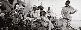Raghu Rai AT MANIKARNIKA GHAT, WHERE HINDU BURN THEIR DEAD, VARANASI 2004 Digital scan of photographic negative on archival paper 20 x 54 in.