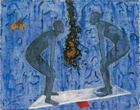 G. R. Iranna, Balancing Act, 1996, Mixed media on canvas, 54 x 66 in