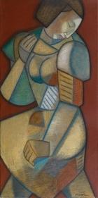 Neeraj Goswami WALK 2006 Oil on canvas 24 x 12 in.  SOLD