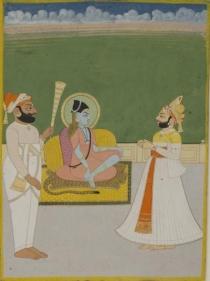 Maharaja Man Singh Worshipping Jallandharnathji Northern India, Jodhpur c. 1830 Opaque watercolour heightened with gold on wasli 8.25 x 6.125 in.