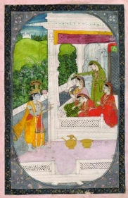 Nayika Bhed India, Kangra Opaque watercolor heightened with gold and silver on paper Late 19th Century 8 x 3 in.
