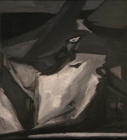 Ram Kumar UNTITLED (BLACK BIRD) Oil on canvas 34.5 x 31 in.  NFS