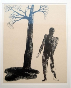 Laxma Goud UNTITlLED (MAN AND TREE) 1975 Ink on board 10.5 x 8.5 in.