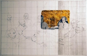 Hasnat Mehmood UNTITLED II 2007 pencil, gouache and gold leaf on paper 20 x 30 in.  SOLD