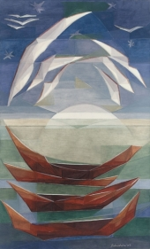 ANCESTRAL BOATS II 2007 Oil on canvas 60 x 36 in.