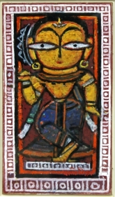Jamini Roy  Untitled (Woman with Rice) Gouache on card 21 x12 in.