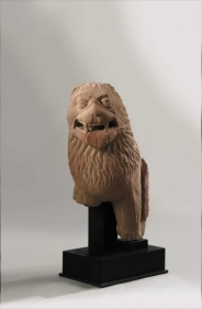 Lion Protome Northern India, Kushan Period 2nd/3rd century Red mottled sandstone Height: 24 in.