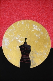 Ayesha Durrani WITHIN THE HALO 2008 Gouache and gold leaf on wasli 20 x 13 in.