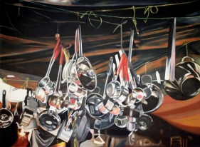 Subodh Gupta UNTITLED (POTS AND PANS) 2004 Oil on canvas 65 x 90 in.  SOLD