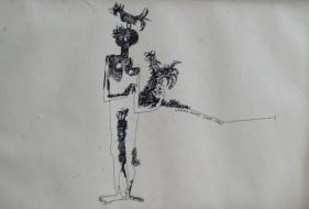 UNTITLED ( FIGURE WITH BIRD ON HEAD AND HAND ) Ink on board 7 x 11 in.