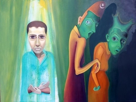 Sana Arjumand I GREW HERE 2008 Oil and acrylic on canvas 36 x 48 in.