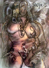 F.N. Souza UNTITLED (FRONTAL NUDE) 1975 Marker, Chemical on paper 11.5 x 8.5 in.