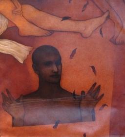 Chandra Bhattacharjee HEAD OVER HEELS 2000 Acrylic on canvas 34 x 34 in.