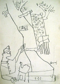 M. F. Husain UNTITLED (MAN AND TREE) 1954 Ink on paper 7 x 5 in.