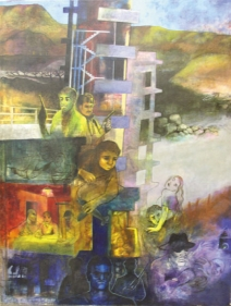Shrilekha Sikander NEW COLONIES Oil on canvas 57 x 45 in.