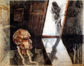 Shyamal Dutta-Ray COMPOSITION WITH HEAD AND FIGURE 1991 Mixed media on paper 24 x 19 in.