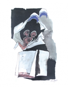 M. F. Husain   WATCHING OVER THEM (Mother Teresa Series)  offset lithography  24 x 18 in