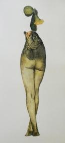 Avishek Sen LEGS AND FISH 2013 Watercolor on paper 12 x 6 in.