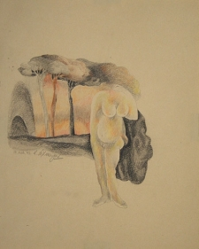 Laxma Goud Untitled (Bent Woman with Trees Above) 1973 Colored pencil on paper 9 x 17 in.