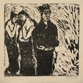 UNTITLED ( BLACK AND WHITE WITH 3 FIGURES ) 1964 Woodcut 12 x 12 in.