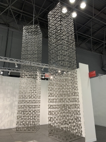 Adeela Suleman  Rise I and II, 2021  Stainless steel with hand-beaten repousse work  42 x 42 x 246 in