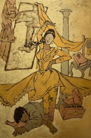 M. F. Husain   Untitled (Devdas II), 1960's  Acrylic on canvas  70.50 x 47 x 1 in