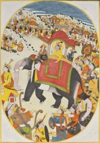 An Illustration to the Ramayana: The Return of Rama Northern India, Guler c. 1780 Opaque watercolour heightened with gold on wasli 10.75 x 7.5 in.