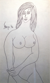 F.N. Souza  Untitled (Nude Female)  1964  Pen on paper  13 x 8 in.