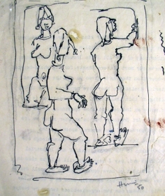 M. F. Husain Untitled (Three Women) 1950 Ink on paper 6 x 5.5 in.